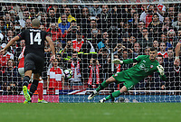 Football - 2016 / 2017 Premier League - Arsenal vs Southampton <br /> <br /> Santi Cazorla of Arsenal scores an injury time winner from the penalty spot past  Fraser Forster of Southampton at the Emirates Stadium.<br /> <br /> <br /> Credit : Colorsport / Andrew Cowie