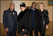 LAURENT LAMOTHE, KIM MURDOCH, JEAN PILLARD,  ELIZABETH ESTEVE at the Private view for A Strong Sweet Smell of Incense<br /> A Portrait of Robert Fraser, Curated by Brian Clarke. Pace Gallery. 6 Burlington Gardens. London. 5 February 2015.