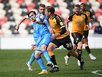 Football - 2020 / 2021 Sky Bet League Two - Newport County  vs Cheltenham Town - Rodney Parade<br /> <br /> Indiana Vassilev of Cheltenham Town battles for possession with Mickey Demetriou of Newport County.<br /> <br /> COLORSPORT/ASHLEY WESTERN