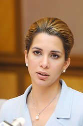 File photo - Princess Haya of Jordan answers to journalists questions, soon after she has just been elected president of the International Equestrian Federation (FEI) in Kuala Lumpur, Malaysia, on May 1st, 2006. The younger wife of the ruler of Dubai, the billionaire race horse owner Sheikh Mohammed bin Rashid al-Maktoum, is believed to be staying in a town house near Kensington Palace after fleeing her marriage. Princess Haya bint al-Hussein, 45, has not been seen in public for weeks. One half of one of the sporting world's most celebrated couples, she failed to appear at Royal Ascot last month with her husband. Photo by Ammar Abd Rabbo/ABACAPRESS.COM