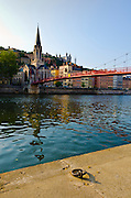 Passerelle Paul Couturier Bridge and the Saône River, old town Vieux Lyon, France (UNESCO World Heritage Site)