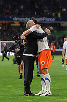 FOOTBALL - FRENCH CHAMPIONSHIP 2011/2012 - L1 - STADE RENNAIS v MONTPELLIER HSC - 7/05/2012 - PHOTO PASCAL ALLEE / DPPI - JOY RENE GIRARD (MONTPELLIER COACH)  AND OLIVIER GIROUD AT THE END OF MATCH