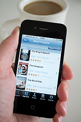 Detail from Lovefilm.com Moview streaming website using application on an iPhone 4g smart phone