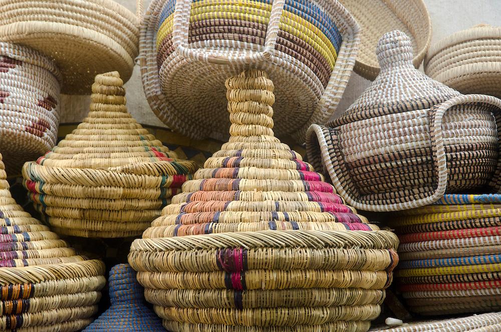 Handmade baskets on display Fes el Bali Morocco