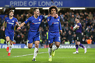 GOAL - Chelsea Midfielder Willian celebrates his penalty goal with Chelsea Defender Cesar Azpilicueta 1-0 during the The FA Cup fourth round match between Chelsea and Sheffield Wednesday at Stamford Bridge, London, England on 27 January 2019.