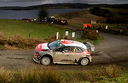 Craig Breen and Scott Martin in their Citroen Total Abu Dhabi WRT Citroen C3 WRC during day four of the Dayinsure Wales Rally GB. PRESS ASSOCIATION Photo. Picture date: Sunday October 29, 2017. Photo credit should read: David Davies/PA Wire