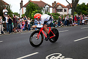 London, UK. Wednesday 1st August 2012. The Men's Individual Time Trial cycling event passes through Twickenham on route to find the fastest male cyclist. Rider Bert Grabsch of Germany.