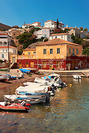 The harbour of the small fishing village of Kaminia, Hydra,  Greek Saronic Islands. .<br /> <br /> Visit our GREEK HISTORIC PLACES PHOTO COLLECTIONS for more photos to download or buy as wall art prints https://funkystock.photoshelter.com/gallery-collection/Pictures-Images-of-Greece-Photos-of-Greek-Historic-Landmark-Sites/C0000w6e8OkknEb8