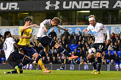 Tottenham's midfielder Gylfi Sigurosson scores a goal  - Photo mandatory by-line: Mitchell Gunn/JMP - Tel: Mobile: 07966 386802 07/04/2014 - SPORT - FOOTBALL - White Hart Lane - London - Tottenham Hotspur v Sunderland - Premier League