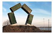 Ghent, Belgium, Jan 15, 2009, Port of Ghent, artwork with containers. PHOTO © Christophe VANDER EECKEN