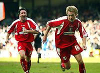 Photo: Chris Ratcliffe.<br />Leyton Orient v Boston United. Coca Cola League 2. 08/04/2006.<br />Paul Connor (R) of Leyton Orient celebrates scoring Leyton Orient's second goal with Wayne Corden