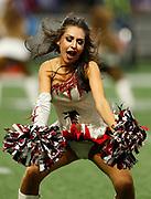 An Atlanta Falcons cheerleader dances during a timeout in the week 4 NFL football game between the Atlanta Falcons and the Buffalo Bills on Sunday, Oct. 1, 2017 in Atlanta, GA. (Mike Zarrilli/AP Images for Panini, via AP)