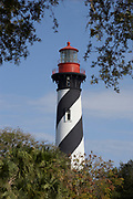 Black and white striped lighthouse in St Augustine, Florida