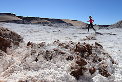 """© Licensed to London News Pictures. 06/06/2013. Chile, UK. Runners run a test event on the route of the inaugural """"Volcano Marathon"""". The inaugural UVU Volcano Marathon takes place on 14th November 2013. Competitors will assemble at San Pedro de Atacama in the heart of the Atacama Desert, the driest desert in the world. The race will begin at the Tropic of Capricorn adjacent to Lascar Volcano, one of the most active volcanoes in Northern Chile. Despite the desert setting, there is a strong likelihood of snow on the ground at the start line. At an altitude of 4,300 metres (14,100 feet), the impact of thinner air will also be felt by competitors.. Photo credit : Mike King/LNP<br /> <br /> EDITORS NOTE: more info @ http://www.volcanomarathon.com"""