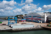 Union Jack Flag doors at Venture Quays at Cowes on the Isle fo Wight.
