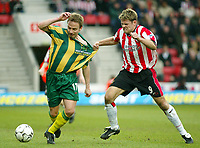 Photo: Scott Heavey<br />Southampton V West Bromwich Albion. 01/03/03.<br />James Beattie gets to grips with Larus Sigurdsson (left) during this premiership clash at St. Marys stadium, home of Southampton.