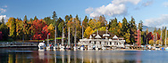 Coal Harbour and Stanley Park's Vancouver Rowing Club in Vancouver, British Columbia, Canada.  Photographed from Devonian Harbour Park.