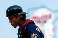 Making his MLB debut, Chris Herrmann #23 of the Minnesota Twins heads to the dugout during a game against the Chicago White Sox on September 16, 2012 at Target Field in Minneapolis, Minnesota.  The White Sox defeated the Twins 9 to 2.  Photo: Ben Krause