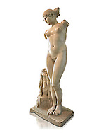 """Roman marble statue of the Esquiline Venus or Aphrodite dated to the 1st cent. It was found in 1874 in Piazza Dante on the Esquiline Hill in Rome, probably part of the site of the Horti Lamiani, one of the imperial gardens, rich archaeological sources of classical sculpture. The Esquiline Venus is an example of the Pasitelean """"eclectic"""" style of the Neo-Attic school. It combines elements from a variety of other previous schools - a Praxitelean idea of the nude female form; a face, muscular torso, and small high breasts in the fifth-century BC severe style; and pressed-together thighs typical of Hellenistic sculptures. Capitoline Museums, Rome ...<br /> <br /> If you prefer to buy from our ALAMY STOCK LIBRARY page at https://www.alamy.com/portfolio/paul-williams-funkystock/greco-roman-sculptures.html . Type -    Capitoline    - into LOWER SEARCH WITHIN GALLERY box - Refine search by adding a subject, place, background colour, etc.<br /> <br /> Visit our ROMAN WORLD PHOTO COLLECTIONS for more photos to download or buy as wall art prints https://funkystock.photoshelter.com/gallery-collection/The-Romans-Art-Artefacts-Antiquities-Historic-Sites-Pictures-Images/C0000r2uLJJo9_s0"""