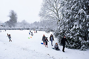 Local people out and about enjoying the snow in Kings Heath Park on 24th January 2021 in Birmingham, United Kingdom. Deep snow arrived in the Midlands giving some light relief and fun during the current lockdown for people who simply enjoyed the weather.