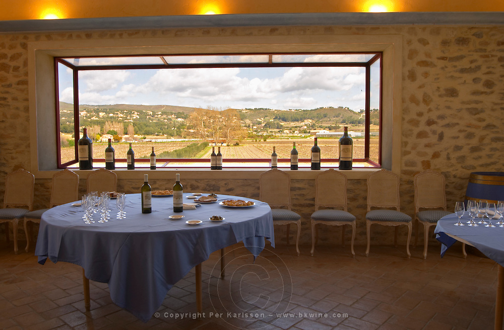 The tasting room with appetizers and aperitif wines for the tasting and lunch and a view over the vineyard through a panorama window Chateau Vannieres (Vannières) La Cadiere (Cadière) d'Azur Bandol Var Cote d'Azur France