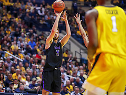 Mar 20, 2019; Morgantown, WV, USA; Grand Canyon Antelopes forward Matt Jackson (5) shoots a three pointer during the first half against the West Virginia Mountaineers at WVU Coliseum. Mandatory Credit: Ben Queen