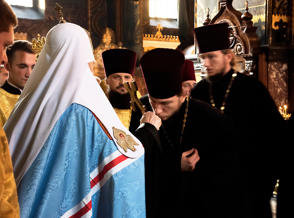 Ukraine, Kyiv, Saint Volodymyr Cathedral, Mother Cathedral Of The Ukrainian Orthodox Church, Patriarch Filaret, Primate And Patriarch Of The Ukrainian Orthodox Church, Clergy Kisssing The Cross
