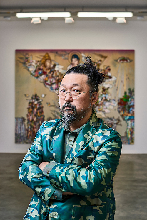 Paris, France. September 9, 2016. Artist Takashi Murakami posing near one of his work at the Galerie Perrotin where his show opens on the day after. Photo: Antoine Doyen