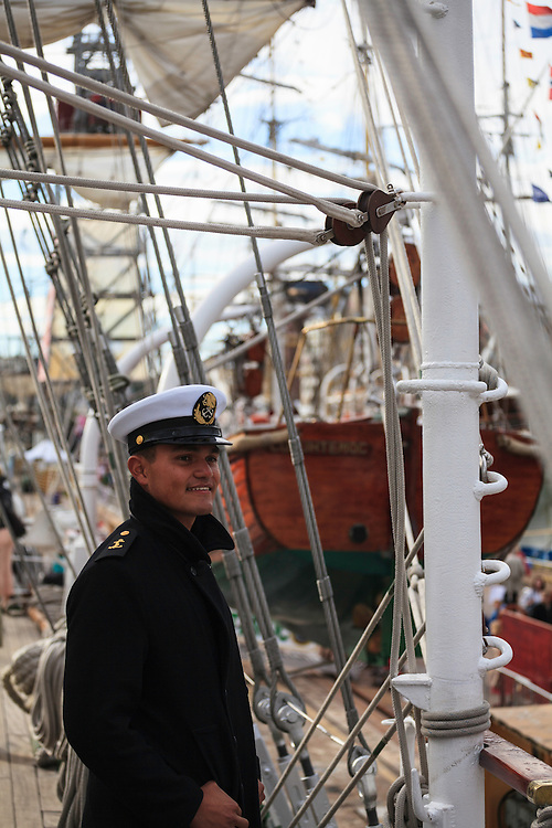 A cadet of the training tall ship Cuauhtemoc at The Tall Ships Races 2013 in Helsinki, Finland. The Cuauhtemoc is a used by the Mexican Navy to train its officer cadets.