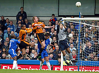 Photo: Scott Heavey. Digitalsport<br /> Chelsea v Wolverhampton Wanderers. FA Barclaycard Premiership. 27/03/2004.<br /> Marco Ambrosio, the Chelsea keeper flaps at the ball and allows Jody Craddock to head in the second for Wolves