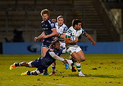 Sale Sharks wing Marland Yarde tackles Newcastle Falcons centre Matias Orlando during a Gallagher Premiership Round 12 Rugby Union match, Friday, Mar 05, 2021, in Eccles, United Kingdom. (Steve Flynn/Image of Sport)