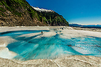 Azure blue meltwater pools, Mendenhall Glacier, Juneau, Alaska USA.
