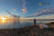 Self portrait at campsite along Fort Peck Reservoir near Fort Peck, Montana, USA MR