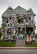 A house covered in stuffed animals,part of the Heidelberg Project, a folk art instaltion taking up over two city blocks in Detroit started by artist Tyree Guyton.