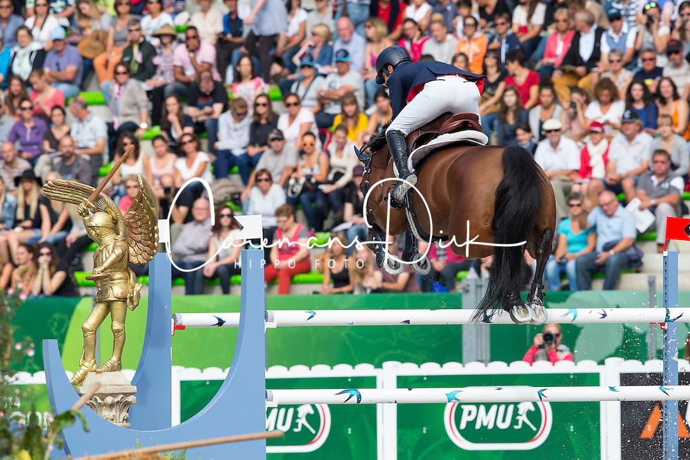 Carlos Lopez, (COL), Prince De La Mare - Team & Individual Competition Jumping Speed - Alltech FEI World Equestrian Games™ 2014 - Normandy, France.<br /> © Hippo Foto Team - Leanjo De Koster<br /> 02-09-14