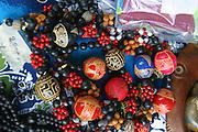 Carved necklaces, Hakahau, Ua Pou, Marquesas, French Polynesia<br />