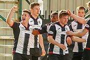 Danny Mullen of St Mirren celebrates his equaliser in the 1st half during the Ladbrokes Scottish Premiership match between St Mirren and Dundee at the Paisley 2021 Stadium, St Mirren, Scotland on 30 March 2019.