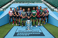 Football - 2019 / 2020 Gallagher Premiership Rugby - New Season Launch Media Photocall<br /> <br /> (From l to r), Gloucester Rugby's Danny Cipriani, Saracens' Alex Goode, Exeter Chiefs' Don Armand, Bath Rugby's Rhys Priestland, Leicester Tigers' Tom Youngs, Worcester Warriors' Francois Hougaard, London Irish' Blair Cowan, Bristol Rugby's Nathan Hughes, Northampton Saints' Tom Wood, Wasps' Dan Robson, Sale Sharks' Chris Ashton, Harlequins' Mike Brown,  at Twickenham.<br /> <br /> COLORSPORT/ASHLEY WESTERN