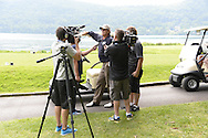 """COOPERSTOWN, NY - JULY 26: Hall of Famer Catlton Fisk speaks with the media during the annual """"Hall of Fame Golf Classic"""" at the Leatherstocking Golf Club in Cooperstown, New York on July 26, 2014."""