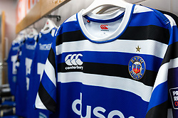 Bath Rugby jerseys hang in the away changing rooms - Mandatory byline: Patrick Khachfe/JMP - 07966 386802 - 21/09/2019 - RUGBY UNION - Sandy Park - Exeter, England - Exeter Chiefs v Bath Rugby - Premiership Rugby Cup