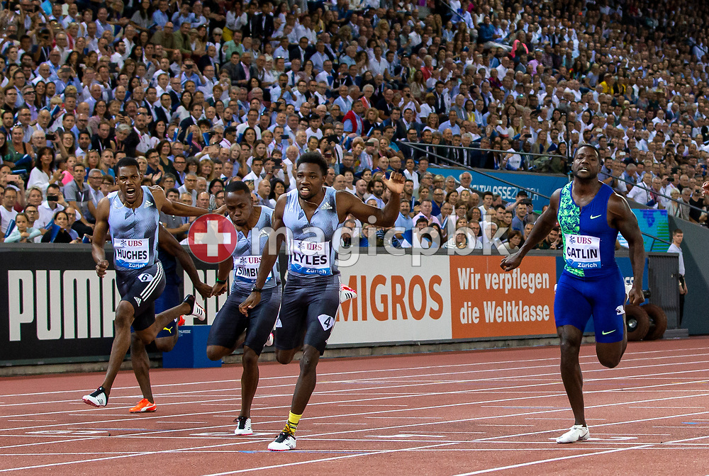 Noah LYLES of United States of America (USA) on his way winning in the Men's 100m during the Iaaf Diamond League meeting (Weltklasse Zuerich) at the Letzigrund Stadium in Zurich, Switzerland, Thursday, Aug. 29, 2019. (Photo by Patrick B. Kraemer / MAGICPBK)