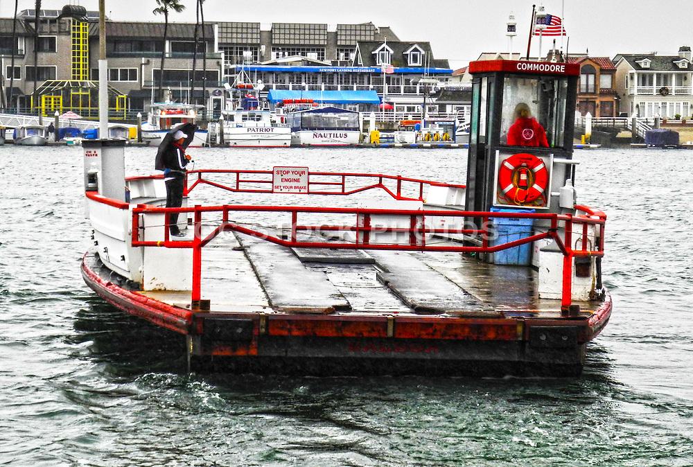 Balboa Ferry at Newport Beach Harbor in the Rain