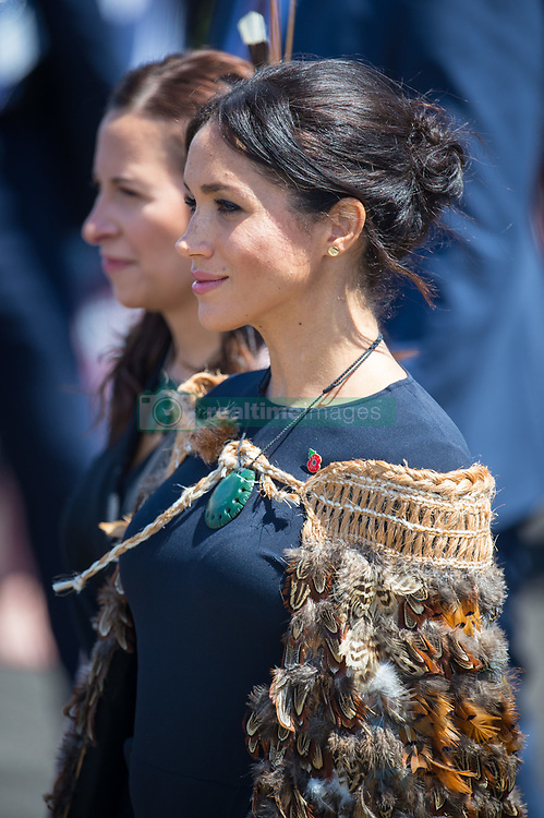 The Duchess of Sussex wears a traditional Maori cloak called Korowai during a visit to Te Papaiouru, Ohinemutu, in Rotorua, before a lunch in honour of Harry and Meghan, on day four of the royal couple's tour of New Zealand.
