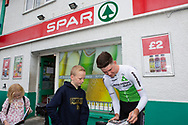 SPAR Store, Johnstown, Carmarthen, Wales, UK. Saturday 1 September 2018.  Professional racing cyclist Scott Davies, from Carmarthen, visits his local Spar store in Johnstown to promote Spar's sponsorship of the Team Dimension Data for Qhubeka racing cycling team.<br /> <br /> Young fans wait to get Scott Davies' autograph.<br /> <br /> Scott Davies races for Team Dimension Data for Qhubeka in the Tour of Britain, which starts in Carmarthenshire.