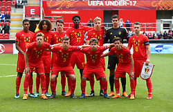 May 17, 2018 - United Kingdom - Belgium Team Shoot.Back Row - Jamie Yayi Mpie Gabriel Lemoine Lucas Lissens Amadou Onana Lars Dendoncker Nick Shinton and Nicolas Raskin of Belgium Under 17.Front Row- Yorbe Vartessen, Siebe Vandermeulen, Loic Masscho and Elias Sierra of Belgium Under 17 .during the UEFA Under-17 Championship Semi-Final match between Italy U17s against Belgium U17s at New York Stadium, Rotherham United FC, England on 17 May 2018. (Credit Image: © Kieran Galvin/NurPhoto via ZUMA Press)
