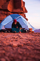 Backpacking under Castleton Tower near Moab, UT. Castle Valley, UT.