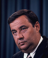 Bert Lance in the White House briefing room<br /> Photo by Dennis Brack