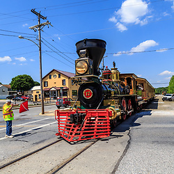 New Freedom, PA – June 25, 2016: The William H. Simpson #17, a replica of a Civil War steam locomotive, pulls into town.