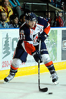 KELOWNA, CANADA, OCTOBER 29: Dylan Willick #11 o f the Kamloops Blazers skates with the puck as the  Kamloops Blazers visit the Kelowna Rockets  on October 29, 2011 at Prospera Place in Kelowna, British Columbia, Canada (Photo by Marissa Baecker/Shoot the Breeze) *** Local Caption *** Dylan Willick;