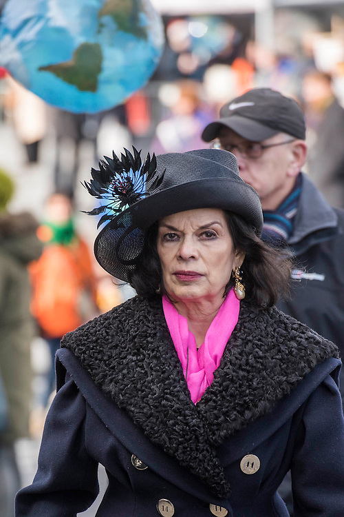 Bianca Jagger - 'Walk in Her Shoes' a mother's day march in solidarity with women and girls around the world and in advance of International Womens Day this week - CARE International's Walk In Her Shoes event led by Helen Pankhurst, her 21-year old daughter Laura Pankhurst, music legend Annie Lennox, Bianca Jagger, comedian Bridget Christie, Secretary of State for International Development Justine Greening, London Mayoral candidates Sadiq Khan and Sophie Walker and a group of 'Olympic Suffragettes' in Edwardian clothing with banners. They were also joined by Sister Sledge.